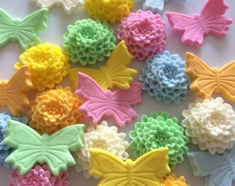 PASTEL 'MUMS N' BUTTERFLIES edible sugar paste birthday christening cake decorations