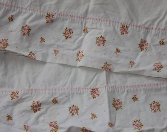 Vintage  Pink Floral Edged Pillowcases by Springmaid