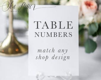 Table Numbers - Made To Match Any Shop Design - Printed Or Digital (printable) Bridal, Baby, Birthday, Baptism, Shower Party Table Number