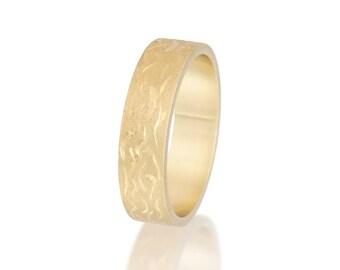 Wedding band, Her wedding ring, Customized wedding ring, Yellow gold wedding band, His wedding ring, Engraved gold ring, Hand engraved ring