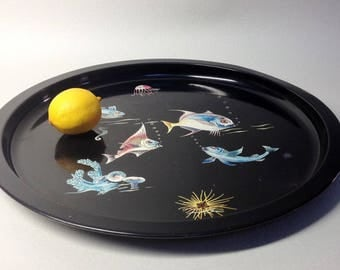 French Black Metal Tray - Fishes Decor - Vintage Bistrot Tray