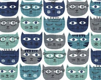 Sassy Cat in Blue, Michael Miller Fabric