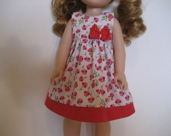 14.5 Inch Doll Clothes - Red Blossoms Dress made to fit dolls such as Wellie Wishers doll clothes