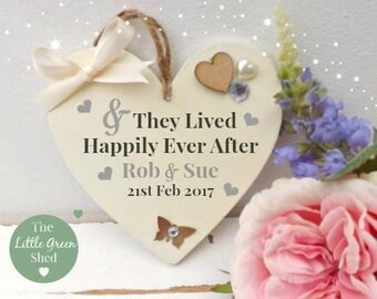 Wedding Anniversary Heart & They Lived Happily Ever After Plaque Sign Chic gift