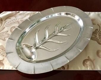 Silverplate Footed Meat Platter Meriden International S Co Meat Tray 4169 Vintage