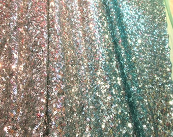"JN00551 Ombre Aqua Silver Full Facet Sequins/Glitter 2Way Stretch Mesh Deep Drape High Fashion Home Decor 54/58"" Salvage Fabric By The Yard"