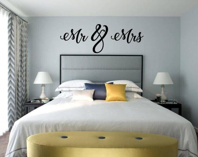 Mr & Mrs Wall Sign - Above Bed Decor