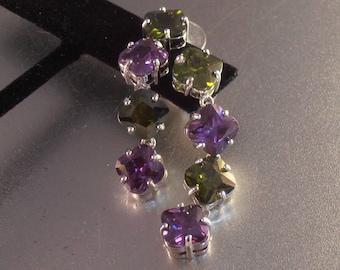 Sterling Gemstone Dangle Earrings, Amethyst Peridot, Open Back Settings, Studs