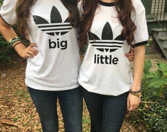 Big/Little Triple Leaf Triple Stripe Sorority Ringer T-Shirt