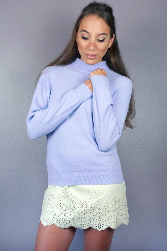 Vintage 60s Purple Pastel High Mock Turtle Neck Long Sleeve Sweater