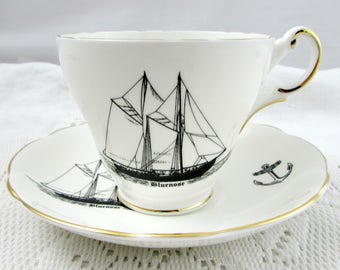 VintageTea Cup and Saucer with Bluenose Ship, Made by Regency, Vintage English Bone China