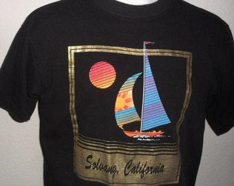 Vintage Original 1990s SOLVANG CALIFORNIA Tourist Metallic Gold Soft Black T Shirt L