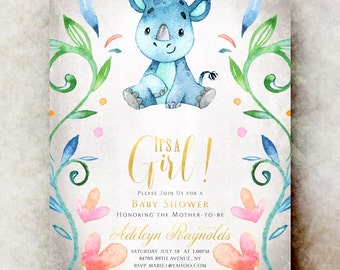 Rhino baby shower invitation girl - baby girl shower invitation, printable baby shower, unique baby shower invitations