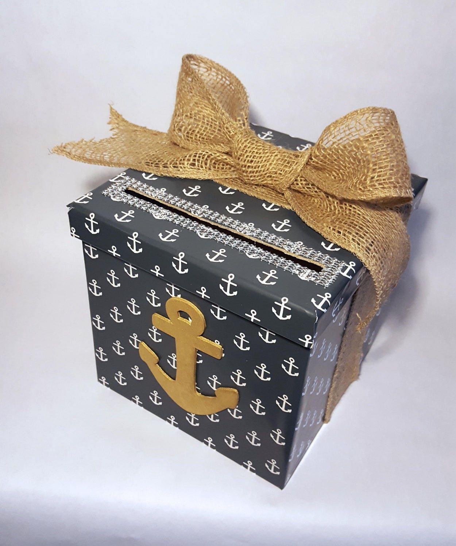 Nautical Card Box - Wedding Box - Baby Shower Gift Box - Nautical ...