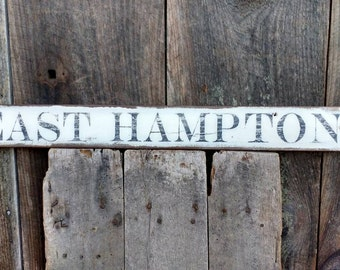 East Hampton sign on salvaged barn wood hand-painted rustic READY 2 SHIP