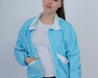 Light Blue vintage windbreaker girl's clothing sport wear full zip classic rare urban style apparel 90s side pockets bomber hipster jacket