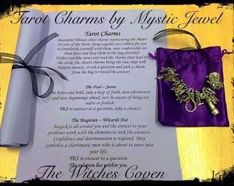 Tarot Charms by Mystic Jewel, Tarot, silver charms, divination tool, tarot runes, major Arcana, tarot reading, tarot teader