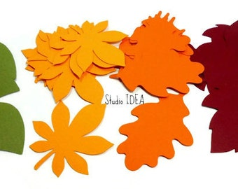 """Mixed Leaf Cut-outs - 2"""" Green, Yellow, Orange & Scarlet Red Leaves- or Choose Your Colors"""
