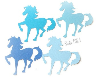 3' Horse Die Cuts, Mixed Blue Horse Cut-outs, Confetti - Set of 10 pcs- or Choose Your Colors
