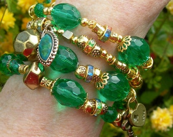 Emerald green and gold wrap bracelet.