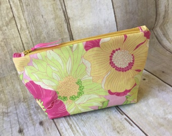 Cosmetic Pouch, Fabric, Handmade, Woman's, Yellow Pink Green Floral