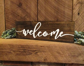 Welcome sign, wood welcome sign, housewarming gift, rustic home decor, rustic wall decor, rustic wall sign, farmhouse decor, farmhouse sign