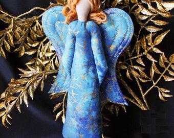 Angel fiber art sculpture, Spiritual Blessings Guardian Angel, fiber art sculpture, Angel Doll, OOAK one of a kind, Guardian Angel Blue #1