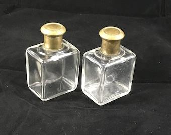 Antique cologne perfume bottles Brass Glass