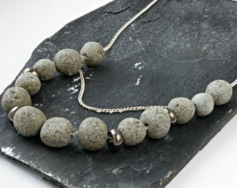 Grey Stone necklace, polymer clay necklace, Christmas present for her, faux pepple stone, Statement Necklace, layer necklace, handmade