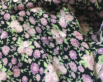 Floral Purple Rayon Fabric Piece, Fabric by the Yard, Yardage
