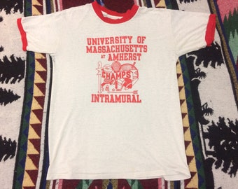 Vintage 80s UMass Amherst Sports Champs Ringer T-shirt