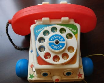 Vintage 1985 Fisher Price Chatter Telephone Pull Toy