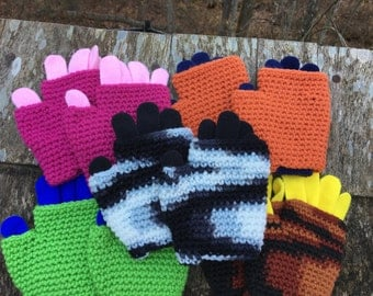 Double Layer Gloves Children ages 5-9, Kids Fingerless Gloves, Kids Gloves, Two Layer Gloves, Kids Winter Gloves, Child Sports Gloves