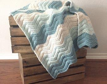 Custom Ripple Crochet Blanket, Crochet Afghan, Throw Blanket, Modern Baby Blanket, Striped Blanket, Chevron Crochet Afghan,