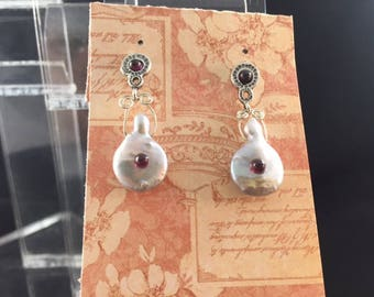 Pearl, Garnet, and Sterling Silver Earrings