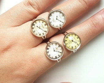 Steampunk Watch Dial Ring // Steampunk Jewelry // Steampunk Ring // Cogs and Gears // Watch Part Ring // Steampunk Watch Parts // Adjustable