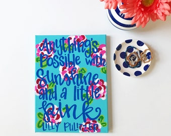 Sunshine and a Little Pink - Lilly Pulitzer Quote - Preppy Wall Art - Dorm Decor - Gifts for Her - Personalized - Lilly Inspired - Apartment