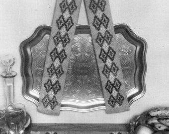 vintage cross stitch tray holder mat pattern cross stitch chart & instructions tapestry wool pdf instant download