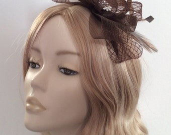CHOCOLATE BROWN FASCINATOR, Made with crin, feathers,crystals, on headband