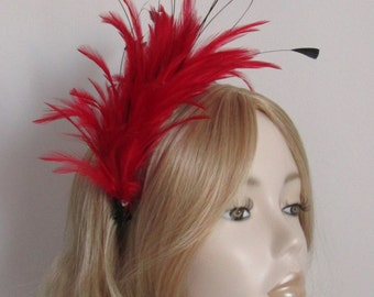 RED and BLACK FASCINATOR, with Feather mount, Black tipped coque feathers, on a comb