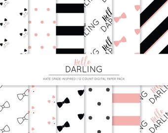 Kate Spade Inspired Digital Paper | Modern Patterned Paper | Preppy Paper