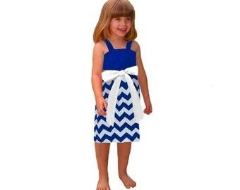 Blue + White Chevron Game Day Dress- Girls