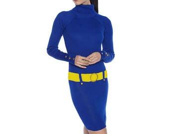 Blue + Yellow Sweater Dress