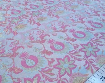 Pink and gold jacquard fabric #938