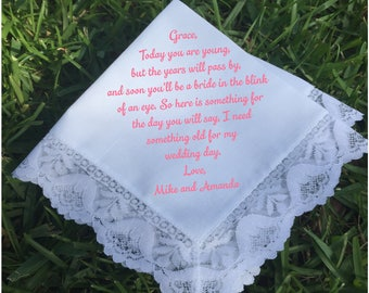 Flower girl gift, Flower Girl handkerchief, wedding handkerchief PRINTED lace handkerchief, personalized handkerchief, wedding gifts (H 005)