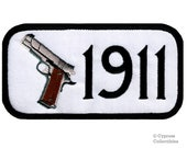 1911 PISTOL GUN PATCH White iron-on embroidered 2nd Second Amendment Rights Semi-Automatic