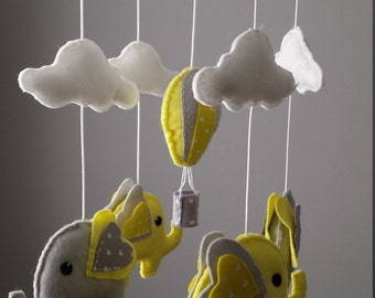 Elephant Mobile - Hot Air Balloon Mobile - Custom Mobile (not ready made) - Ships in approximately 3 weeks