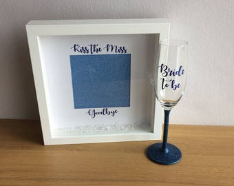 Kiss the miss frame, goodbye to the miss, kiss the miss bye, gift for the bride, gift for the hen, gift from the girls, hen party frame,