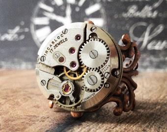 Steampunk Watch Ring, Copper Ring, Watch Part Ring, Watch Gear Ring, Silver Ring, Watch Movement, Round Watch, Steampunk Jewelry, Copper