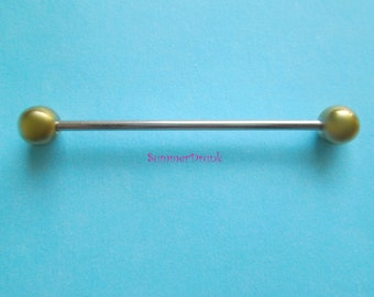 Gold and silver industrial piercing,industrial barbell. 14 ga barbell, body jewelry, body piercing, body barbell, industrial body piercing